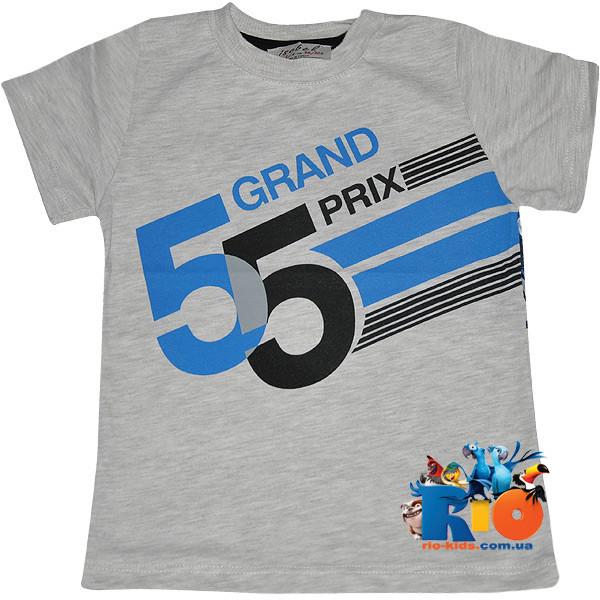 """Летняя футболка с ярким принтом """"Grand Prix"""" , трикотаж , для мальчиков от 3-4;4-5;10-11 лет (3 ед. в уп.)"""