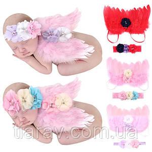 Комплект детские крылья ангела и повязка красный набор ангелочка для ребёнка одежда костюмы