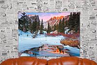 """Картина на холсте """"Зима. Лес. Река. Горы. Природа"""".  70х50 см."""
