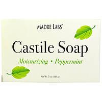 Madre Labs, Мыло Castile, не содержит глютена, ГМО, сульфатов, на растительной основе, перечная мята, 5 унций (141 г)