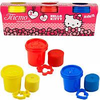 Пластилиновая масса (тесто для лепки) kite hk17-151 с инструментами 3*75г hello kitty