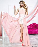 Нарядное женское платье с шифоновой юбкой(съемная),цвет нежно розовый,белый