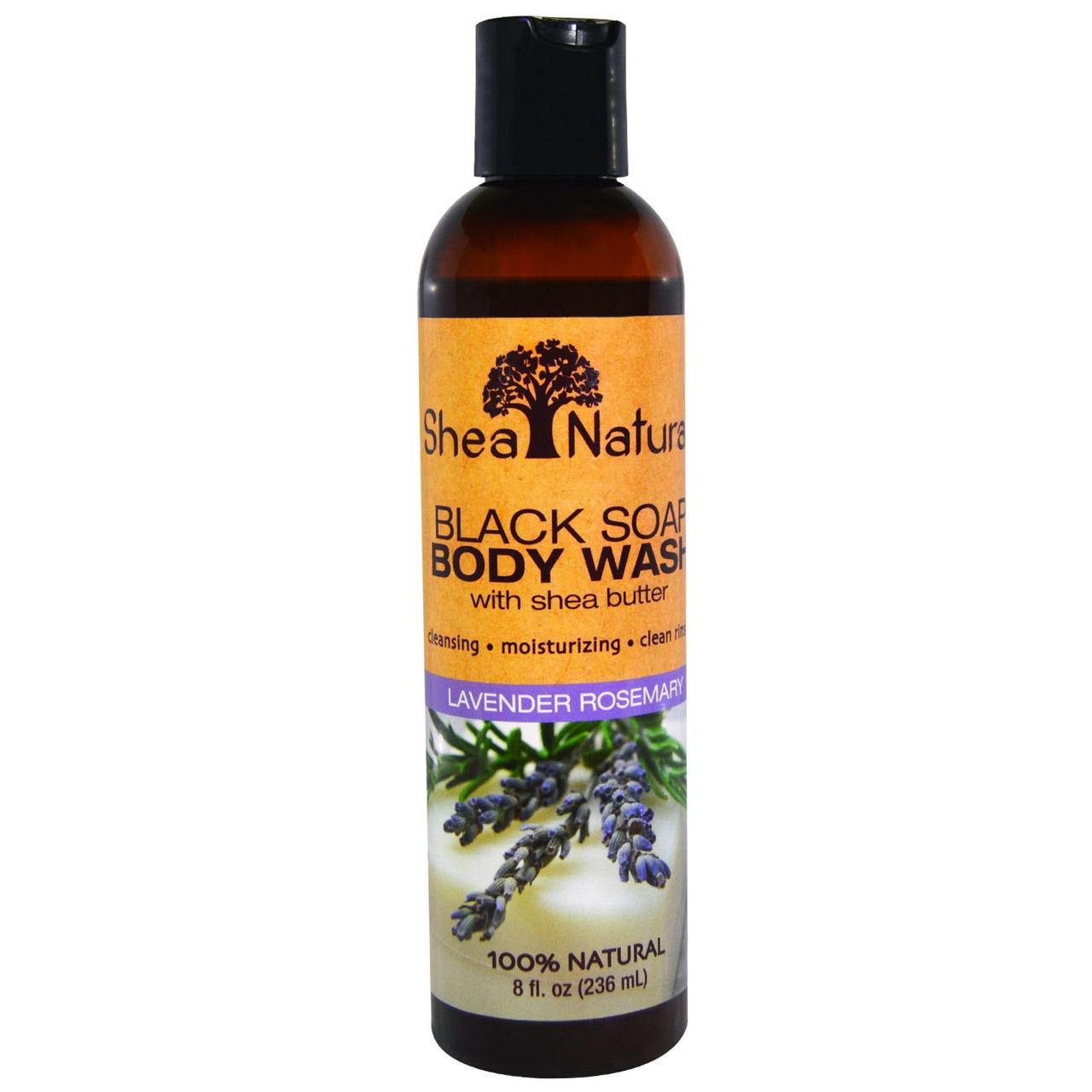 Shea Natural, Черное мыло для тела, с экстрактом масла ши, лаванда-розмарин, 8 жидких унций (236 мл)