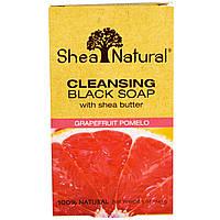 Shea Natural, Очищающее черное мыло с экстрактом масла ши, грейпфрут-помело, 5 унций (141 г)