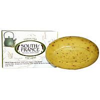 South of France, Зеленый чай, резной кусочек французского овального мыла с органическим маслом ши, 6 унций (170 гр)