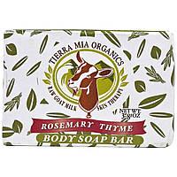 Tierra Mia Organics, Средства для ухода за кожей на основе сырого козьего молока, мыло для тела, розмарин тимьян, 3,8 унции