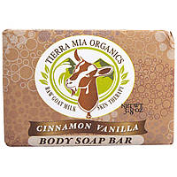 Tierra Mia Organics, Средства для ухода за кожей на основе сырого козьего молока, мыло для тела, корица ваниль, 3,8 унции