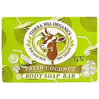Tierra Mia Organics, Raw Goat Milk Skin Therapy, Body Soap Bar, Fresh Coconut, 3.8 oz