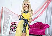 Нарядное женское платье с шифоновой юбкой(съемная),цвет нежно желтый,красный