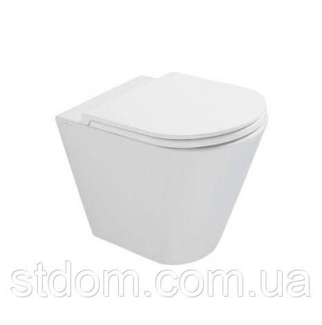 Унитаз напольной пристенное 57х36 Globo Forty3 FO001.BI белый глянец