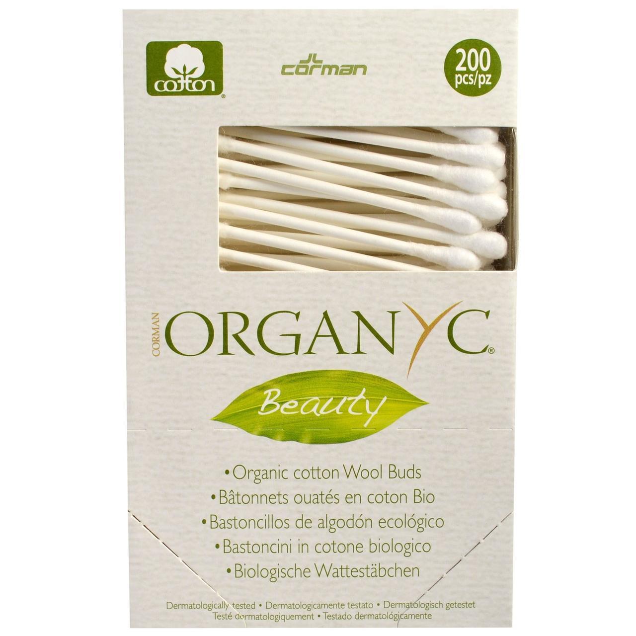 Organyc, Beauty, Органические хлопковые ватные палочки, 200 штук - Интернет-магазин для здоровой жизни в Киеве