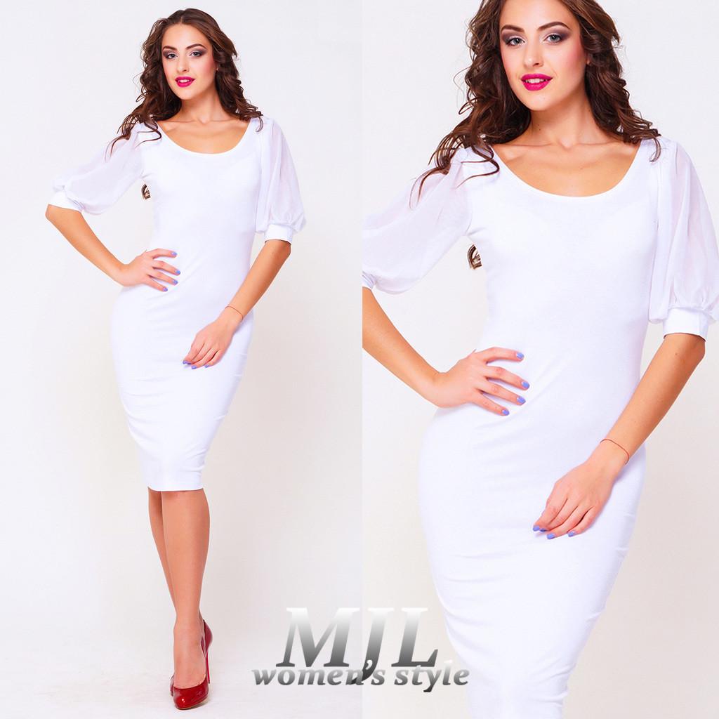 Белое платье облегающего силуэта Анита