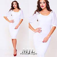 Облегающее платье-футляр рукава шифон Анита белое