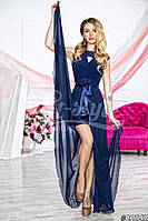 Нарядное женское платье с шифоновой юбкой(съемная),цвет синий,ментол