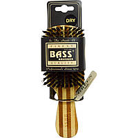 Bass Brushes, Classic Mens Club Style, Hair Brush, 100% Wild Boar Bristles, Wood Handle