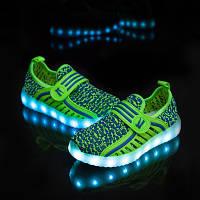 Детские светящиеся кроссовки (led подсветка) green
