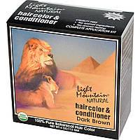 Light Mountain, Натуральное средство для окрашивания и ухода за волосами, Темно-коричневый, 4 унции (113 г)