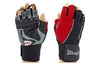 Перчатки спортивные многоцелевые с напульсником (перчатки атлетические) 6166: кожзам, размер M/L/XL, фото 1