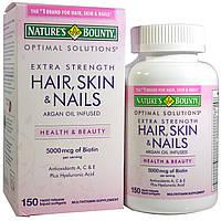 Natures Bounty, Optimal Solutions, Hair, Skin & Nails, Extra Strength, 150 быстрорастворимых мягких капсул