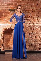 Длинное синие приталенное платье с открытой спиной