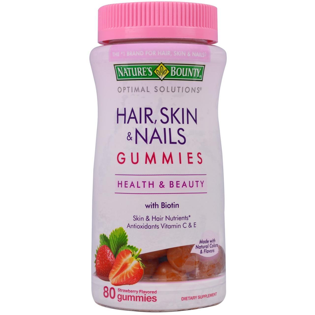 Natures Bounty, жевательные мультивитамины для здоровья волос, кожи, ногтей со вкусом клубники, 80 жевательных