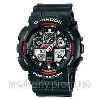 Спортивные наручные кварцевые унисекс часы CASIO G-Shock GA 100 AAA черно-красные