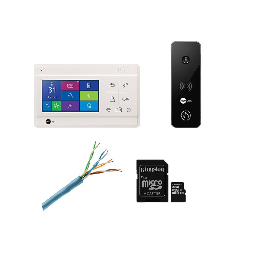 Комплект видеодомофона Neolight NeoLight Delta+ и вызывной панели NeoLight Optima, с картой памяти 16 ГБ.