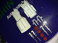 Разъём герметичный 2 pin . Белый.Комплект