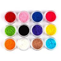 Бархат для дизайна ногтей в наборе 12 цветов