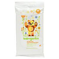 BabyGanics, Очищающие салфетки для рук, не содержат спирта, мандарин, 20 салфеток