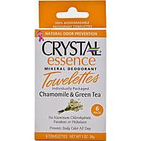 Crystal Body Deodorant, Минеральные салфетки антиперспирант с ромашкой и зеленым чаем, 6 салфеток, 0.1 унция (34 г) каждая