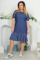 Платье батальное 2184 джинсовое полоска