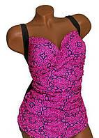 Купальник слитный Linda ( имитация юбки) р 58 цвет серый темный  с принтом фуксия