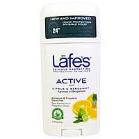 Lafes Natural Body Care, Твердый дезодорант, активная невидимая защита от запаха, цитрус и бергамот, 63 г