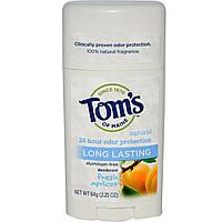 Toms of Maine, Натуральный дезодорант длительного действия, без алюминия, свежий абрикос, 2,25 унции (64 г)