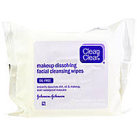 Clean & Clear, Makeup Dissolving Facial Cleansing Wipes, 25 Pre-Moistened Wipes, 7.4 in x 7.2 in (19 cm x 18.5 cm)