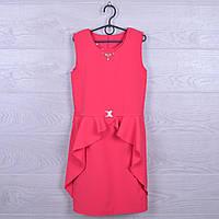 """Платье подростковое нарядное """"Алиса"""". 128-152 см. Коралловое. Оптом."""