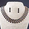 Набор Эмаль ожерелье + серьги Ягодки, металл Gold и черный глянец