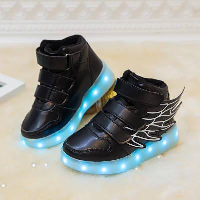Детские светящиеся кроссовки высокие (led подсветка) black  купить в  Днепропетровске и Украине от