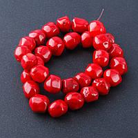 Бусины натуральный камень на нитке коралл красный галтовка шарик d-10-12мм L-40см №2