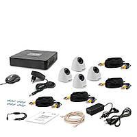 Комплект проводного видеонаблюдения Tecsar 4IN DOME