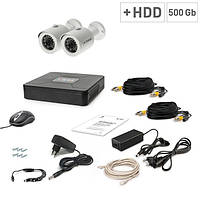 Комплект проводного видеонаблюдения Tecsar 2OUT + HDD 500ГБ