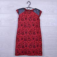 """Платье подростковое нарядное """"Стиль"""" с кожаными вставками. 122-140 см. Красное. Оптом."""