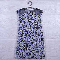 """Платье подростковое нарядное """"Стиль"""" с кожаными вставками. 122-140 см. Серое. Оптом."""