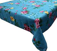 Ткань для скатерти рогожка Розы (синий фон)