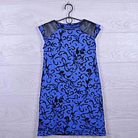 """Платье подростковое нарядное """"Стиль"""" с кожаными вставками. 122-140 см. Электрик. Оптом."""