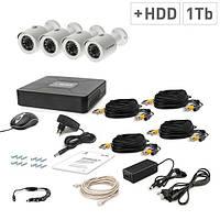 Комплект проводного видеонаблюдения Tecsar 4OUT + HDD 1TБ