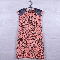 """Платье подростковое нарядное """"Стиль"""" с кожаными вставками. 122-140 см. Персиковое. Оптом."""