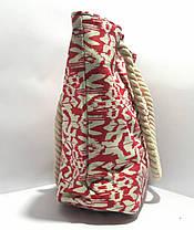Сумка текстильная летняя для пляжа и прогулок абстракция красная, фото 3