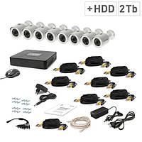 Комплект проводного видеонаблюдения Tecsar 8OUT + HDD 2TБ